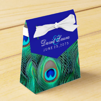 Het Huwelijk van de Pauw van koningsblauwen Bedankdoosjes