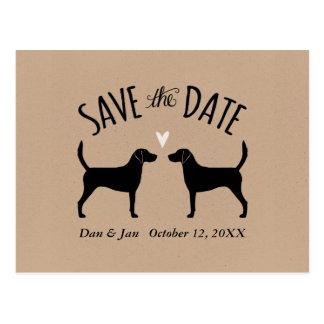 Het Huwelijk van de Silhouetten van de Hond van de Briefkaart