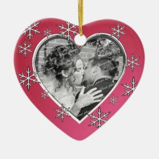 Het Huwelijk van de Sneeuw van de liefde Keramisch Hart Ornament