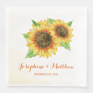 Het Huwelijk van de Waterverf van zonnebloemen Wegwerp Servet