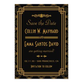 Het Huwelijk van het art deco bewaart de 12,7x17,8 Uitnodiging Kaart