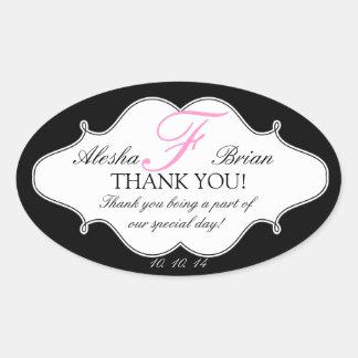 Het Huwelijk van het monogram F dankt u het Ovaal Ovale Sticker