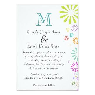 Het Huwelijk van het Monogram van Colorbursts 12,7x17,8 Uitnodiging Kaart