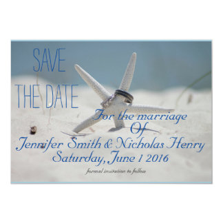 Het Huwelijk van het strand bewaart de Datum 12,7x17,8 Uitnodiging Kaart