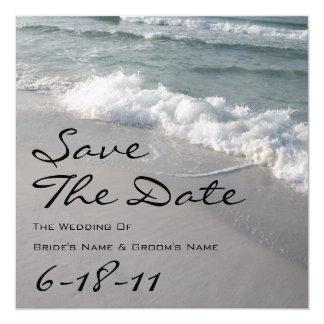 Het Huwelijk van het strand bewaart de Datum - 13,3x13,3 Vierkante Uitnodiging Kaart
