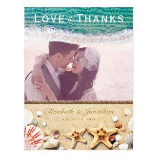 Het Huwelijk van het strand dankt u Briefkaart