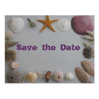 Het Huwelijk van het strand/sparen de Datum Briefkaart