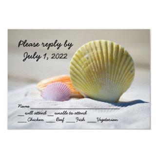 Het Huwelijk van het Strand van de zeeschelp 8,9x12,7 Uitnodiging Kaart
