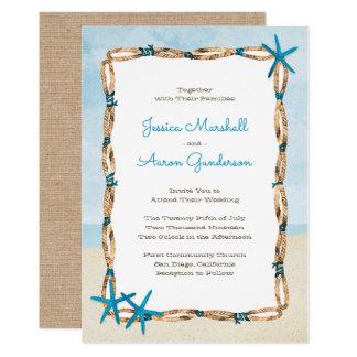 Het Huwelijk van het Strand van de Zeester en van 12,7x17,8 Uitnodiging Kaart