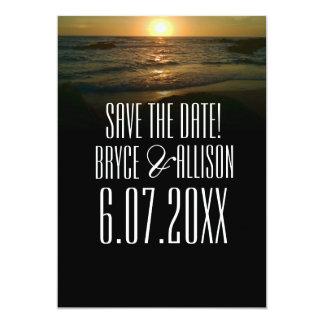 Het Huwelijk van het Strand van de zonsondergang 12,7x17,8 Uitnodiging Kaart