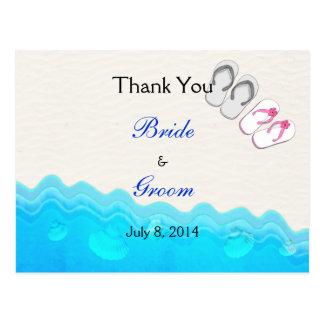 Het Huwelijk van Sandals van het strand dankt u Briefkaart