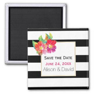 Het huwelijk van strepen en van bloemen bewaart de vierkante magneet