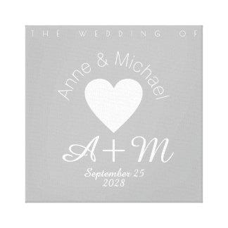 het huwelijksdecor van de monogram grijs liefde canvas afdruk