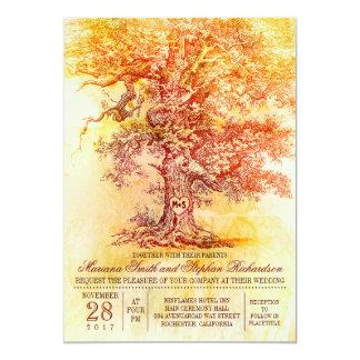 Het huwelijksuitnodiging van de herfst met oude 12,7x17,8 uitnodiging kaart