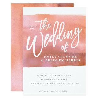 Het huwelijksuitnodiging van de Waterverf van het Kaart