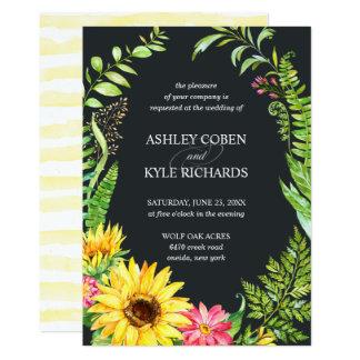 Het huwelijksuitnodiging van de zonnebloem met kaart