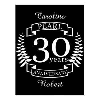 Het huwelijksverjaardag van de parel dertigste 30 briefkaart