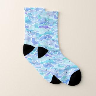 Het idyllische Blauwe Ontwerp van het Zeegezicht Sokken