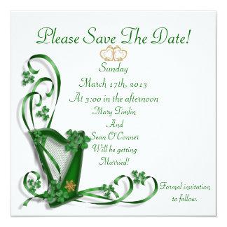 Het Iers bewaart de datum voor Huwelijk, Harp 13,3x13,3 Vierkante Uitnodiging Kaart