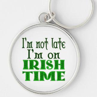Het Ierse Grappige Spreuk Keychain van de Tijd Zilverkleurige Ronde Sleutelhanger