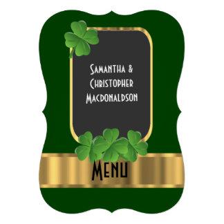 Het Ierse menu van het groene, gouden en 12,7x17,8 Uitnodiging Kaart