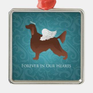 Het Ierse Ontwerp van de Hond van de Engel van het Zilverkleurig Vierkant Ornament