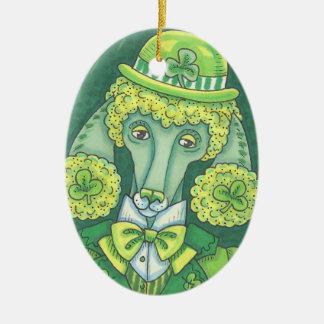 Het IERSE ST. PATRICK van de POEDEL Ovaal van het Keramisch Ovaal Ornament