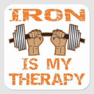 Het ijzer is Mijn Therapie - Weightlifting Vierkante Sticker