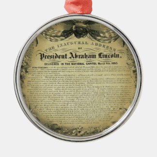 Het inaugurele Adres van President Abraham Lincoln Zilverkleurig Rond Ornament