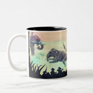 Het Indische het baden van de Olifant silhouet van Tweekleurige Koffiemok