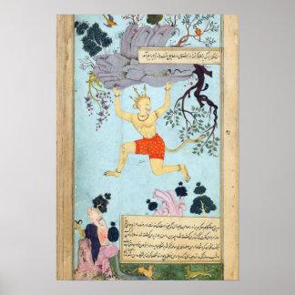 Het Indische Miniatuur Schilderen van Ramayana Poster