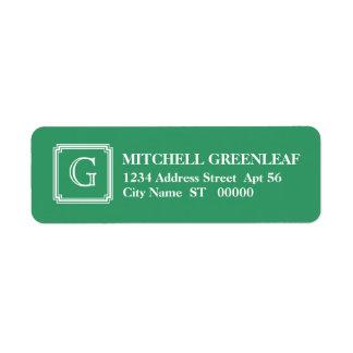 Het ingekerfte Vierkante Aanvankelijke Groene Etiket