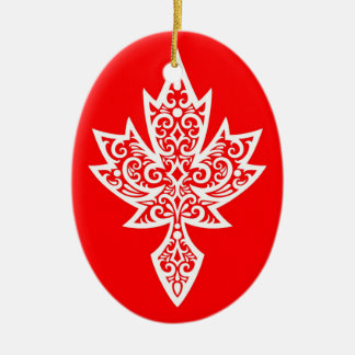 Het ingewikkelde Rode & Witte Canadese Blad van de Keramisch Ovaal Ornament