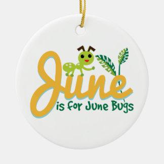 Het Insect van juni Rond Keramisch Ornament