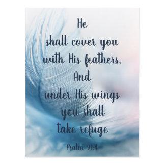 Het inspirerend 91:4 van de Psalm Uplifting onder Briefkaart