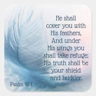 Het inspirerend 91:4 van de Psalm Uplifting onder Vierkante Sticker