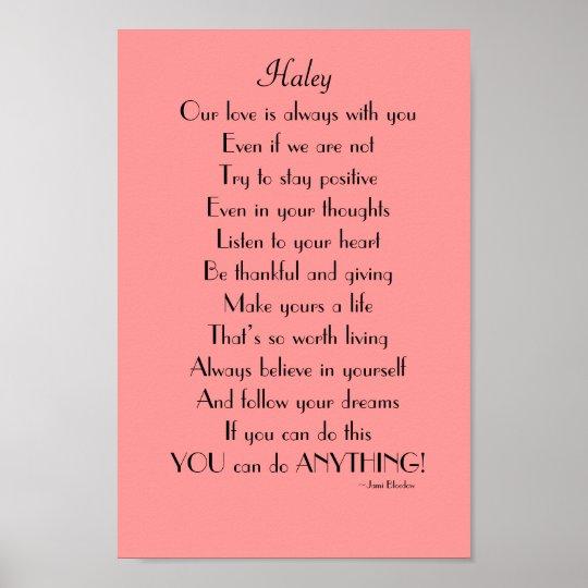Het Inspirerend Gedicht Van De Dochter Van Ouders Poster