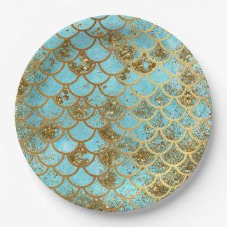 Het iriserende Blauwe Goud schittert de Schalen Papieren Bordje