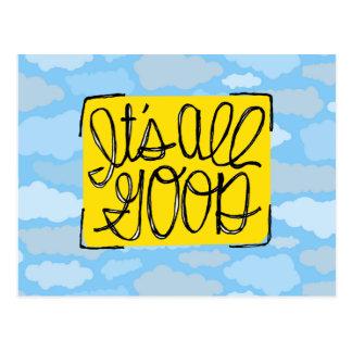Het is Alle Goede gele blauwe Wolken Handlettered Briefkaart