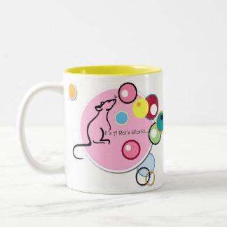 Het is de het logomok van de Wereld van een Rat Tweekleurige Koffiemok