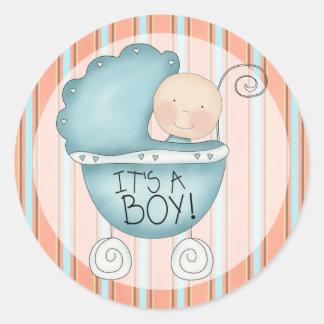 Het is een Jongen! De blauwe Aankondiging van de Ronde Sticker