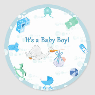 Het is een Jongen - Gepersonaliseerd Baby shower Ronde Stickers
