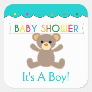 Het is een Jongen, het Baby shower van de Vierkant Stickers