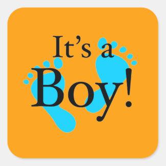 Het is een Jongen! - Pasgeboren baby shower Vierkant Sticker