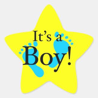 Het is een Jongen! - Pasgeboren baby shower Stervormige Stickers