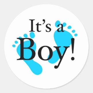 Het is een Jongen! - Pasgeboren baby shower Ronde Stickers