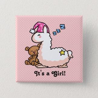 Het is een Lama van het Meisje! Vierkante Button 5,1 Cm