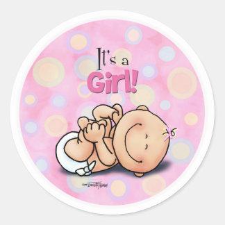 Het is een Meisje - de Gelukwensen van het Baby! Ronde Stickers