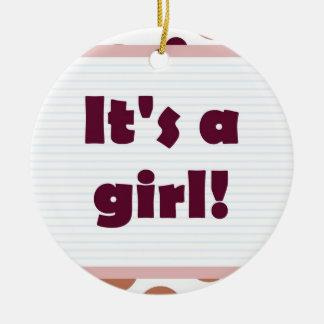 Het is een Meisje! Kleurrijke rode kastanjebruin Rond Keramisch Ornament