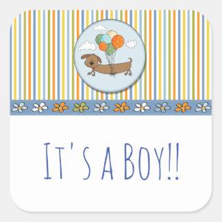 Het is een Sticker van de Hond van de Jongen